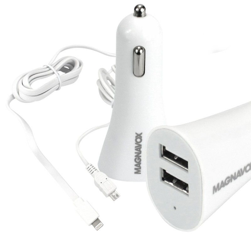 USB Car Charger with Micro USB cable  And Lightning cable